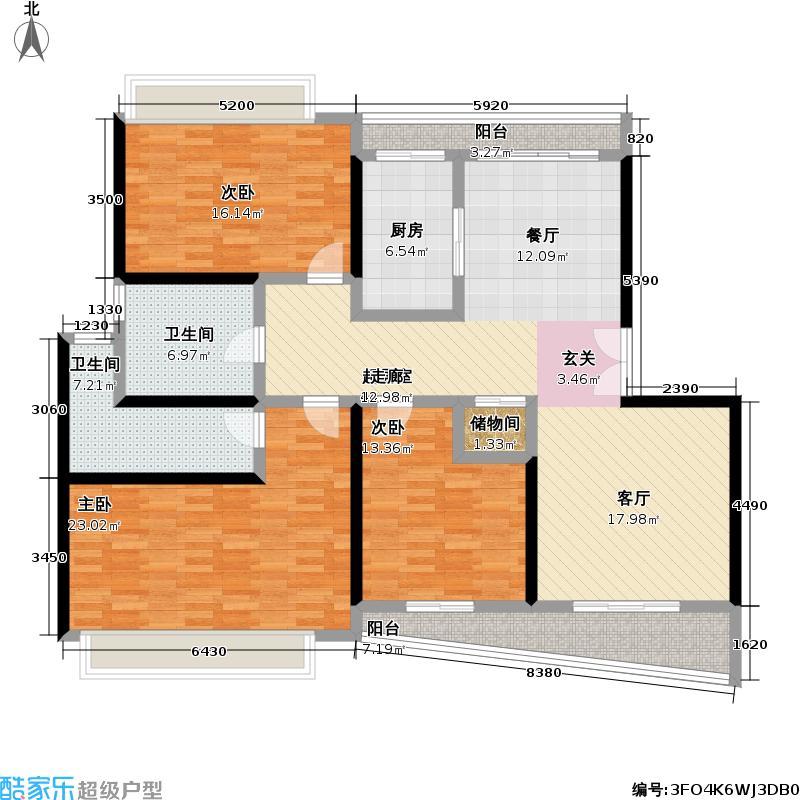 运旺名邸三室两厅两卫南北通141平米户型