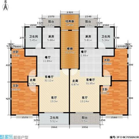 金都花好悦园五期4室2厅3卫2厨167.08㎡户型图