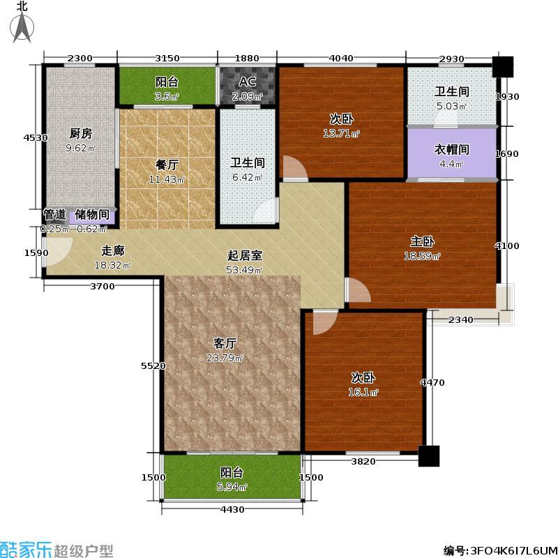 上海滩新昌城150.00㎡房型: 三房; 面积段: 150 -160 平方米; 户型