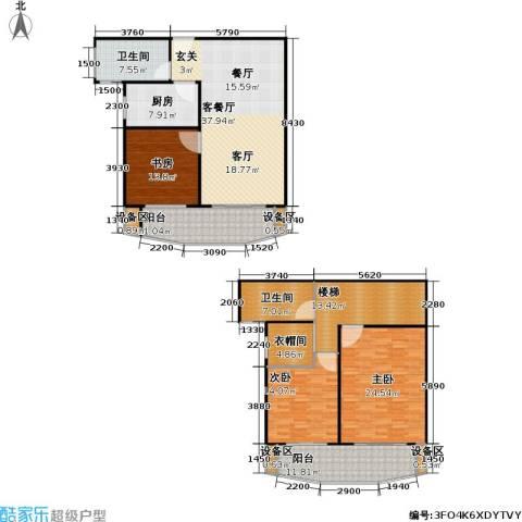 真情公寓(三期)3室1厅2卫1厨168.00㎡户型图