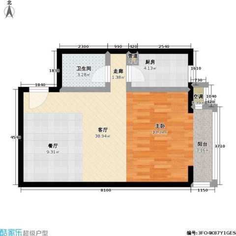 CBD总部公寓三期商业1厅1卫1厨65.00㎡户型图
