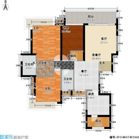 瑞安重庆天地雍江苑3室1厅2卫1厨164.00㎡户型图