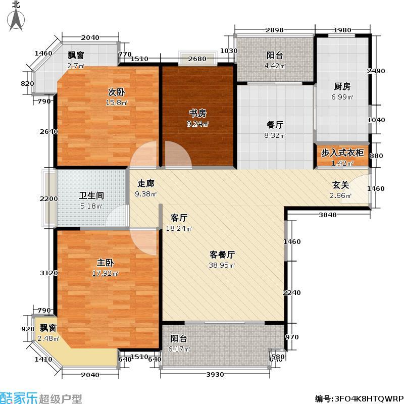 经纬城市绿洲三房二厅一卫,面积约114平方米户型