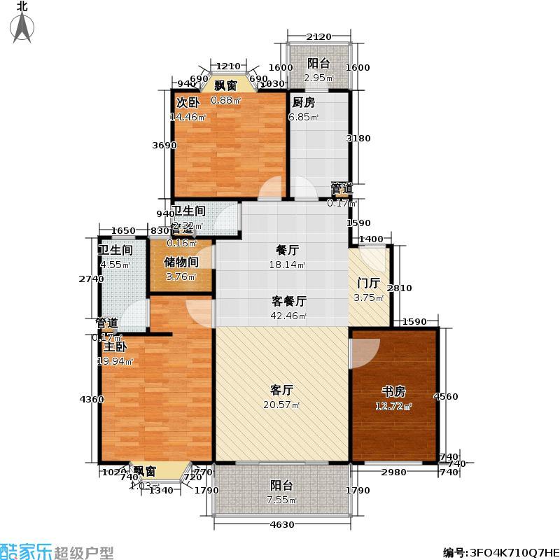 紫兰苑一期房型: 三房; 面积段: 119.2 -131.02 平方米; 户型
