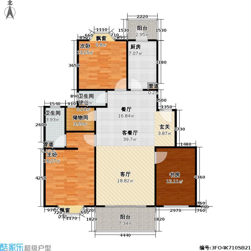 紫兰苑一期户型3室1厅2卫1厨
