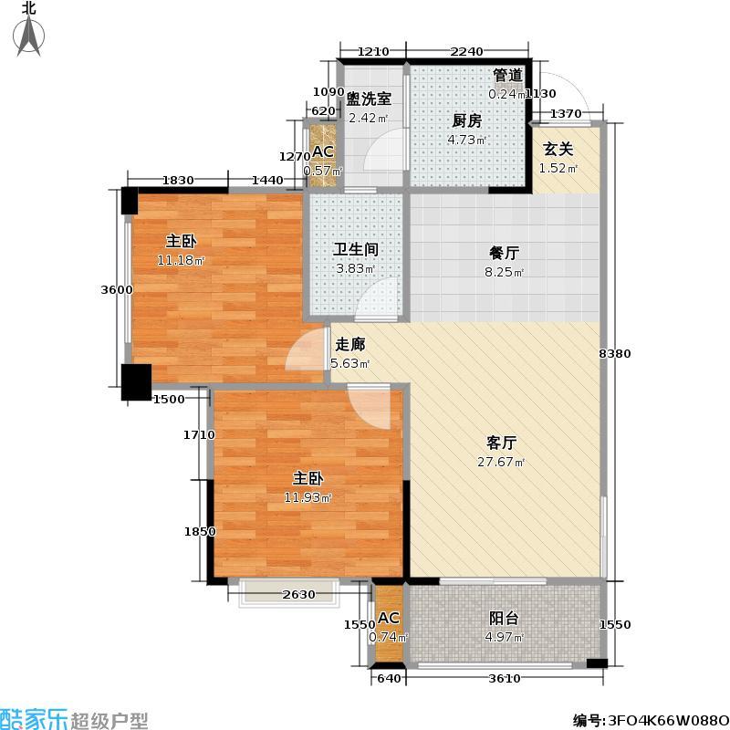 马克公馆77.00㎡A3 3室2厅1卫(实得85㎡)户型3室2厅1卫