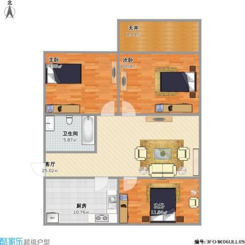 贝港南区3室1厅1卫1厨123.00㎡户型图