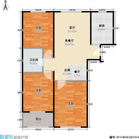 印象江南3室1厅1卫1厨102.00㎡户型图