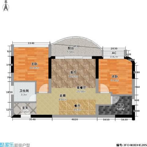 聚丰锦绣盛世(一期)2室1厅1卫1厨68.00㎡户型图