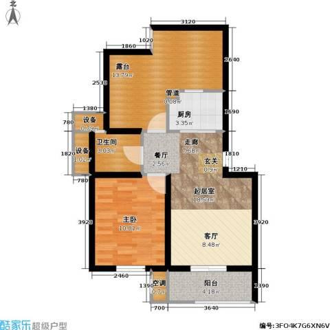 新港名墅花园二期1室0厅1卫1厨65.00㎡户型图