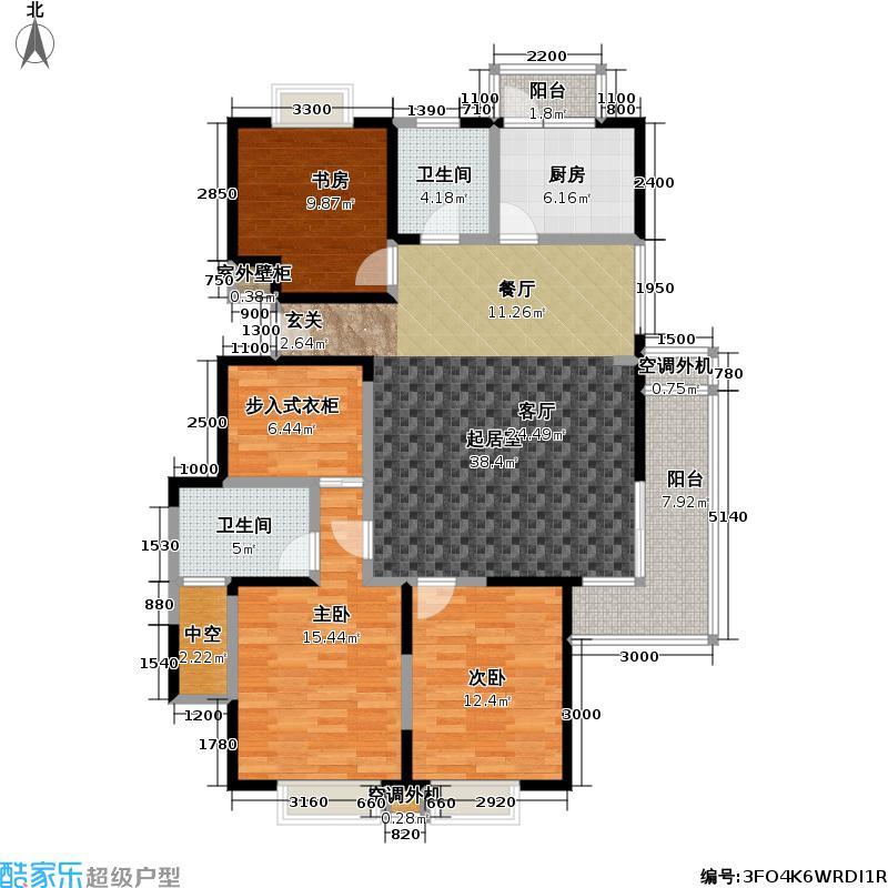 上海春城三期房型户型3室2卫1厨