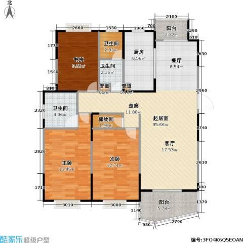 金月湾小区3室0厅3卫1厨105.00㎡户型图