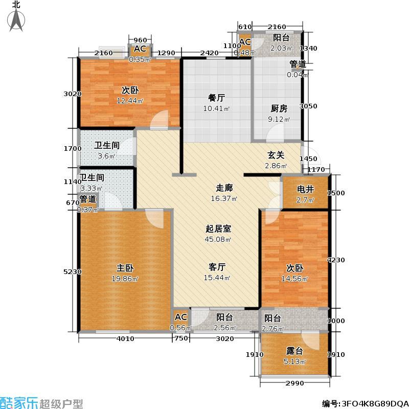 红树林135.00㎡二期花园洋房西(2层)二室二厅二卫户型