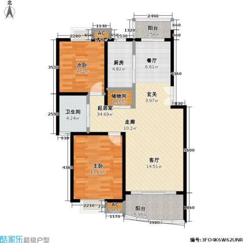 恒联新天地花园一期2室0厅1卫1厨98.00㎡户型图