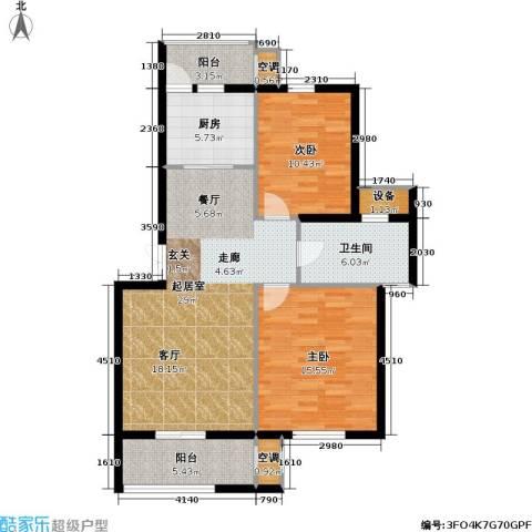 新港名墅花园二期2室0厅1卫1厨88.00㎡户型图