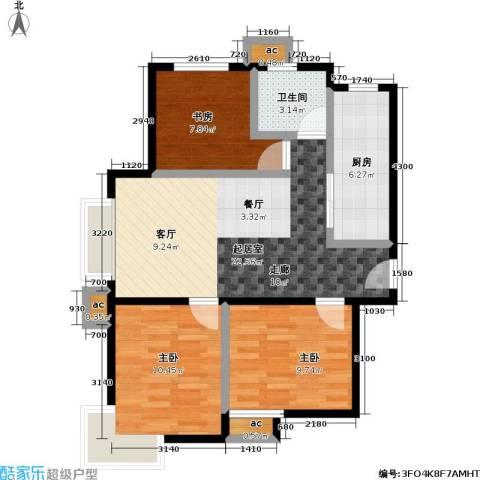 东亚・瑞晶苑3室0厅1卫1厨84.00㎡户型图
