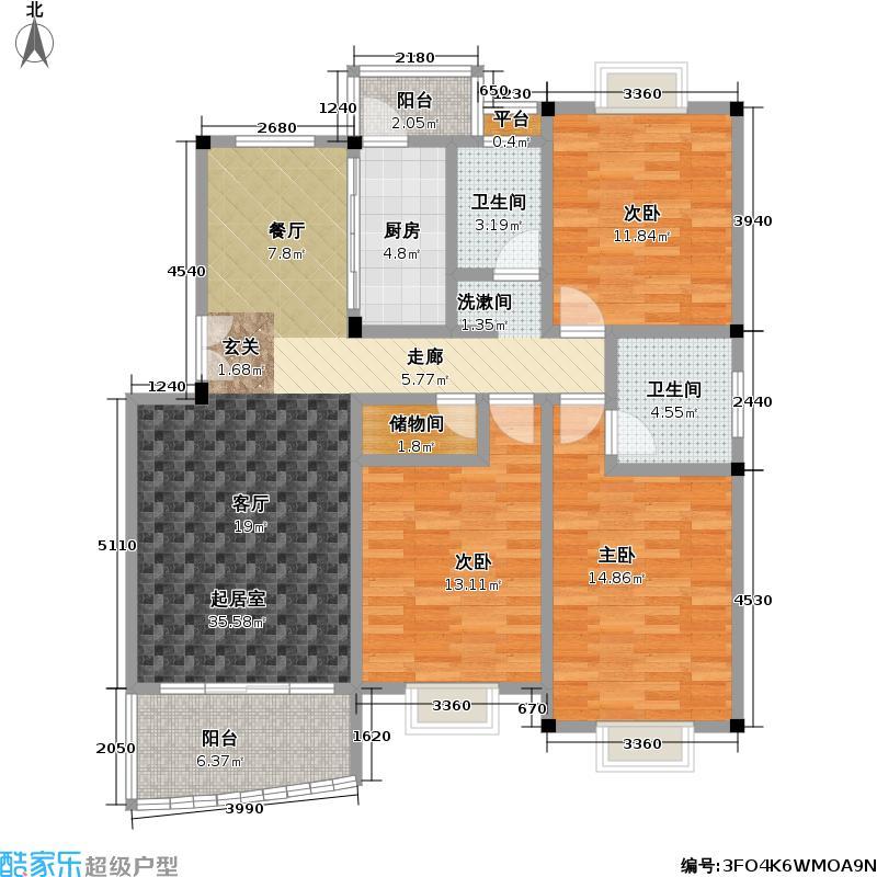 锦绣一方110.00㎡房型: 三房; 面积段: 110 -150 平方米;户型