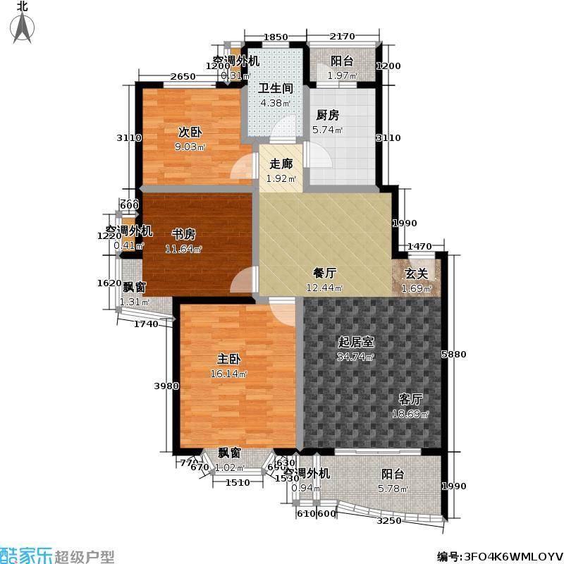 锦绣天第一二期141.00㎡房型: 三房; 面积段: 141 -147 平方米; 户型