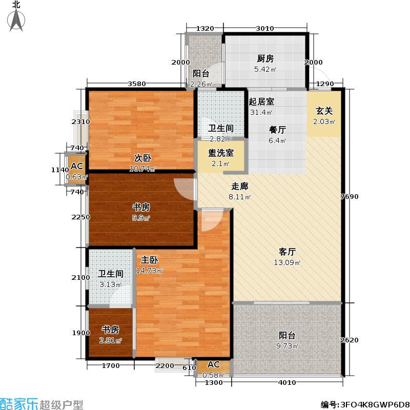 科大美林100.69㎡三室两厅两卫户型