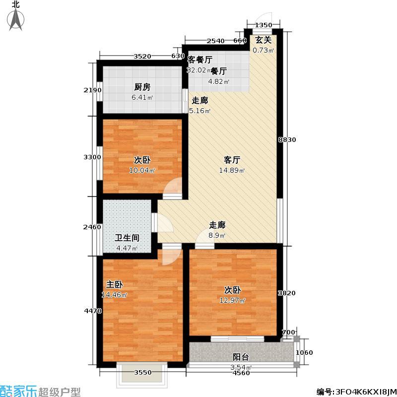 石家庄逸格113.05㎡B户型三室两厅一卫一厨户型3室2厅1卫