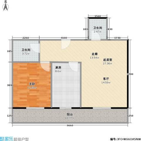 利海公寓1室0厅2卫1厨70.00㎡户型图