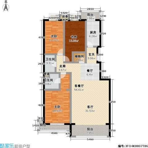 未来城・益宸嘉苑3室1厅2卫1厨141.00㎡户型图
