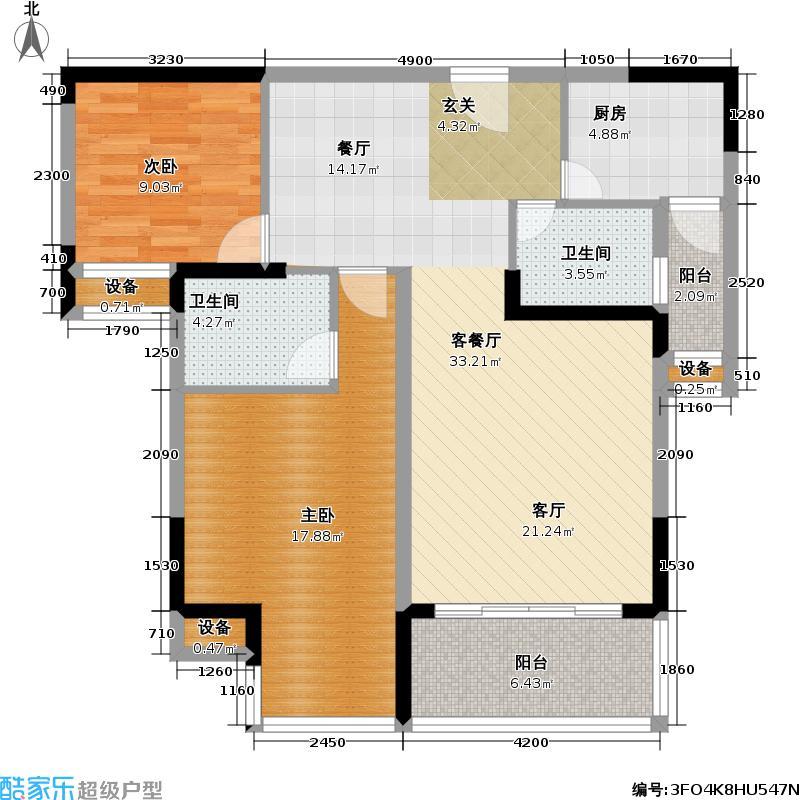 珠江太阳城一期85.86㎡2号房 二房二厅双卫85.86平方米户型2室2厅2卫