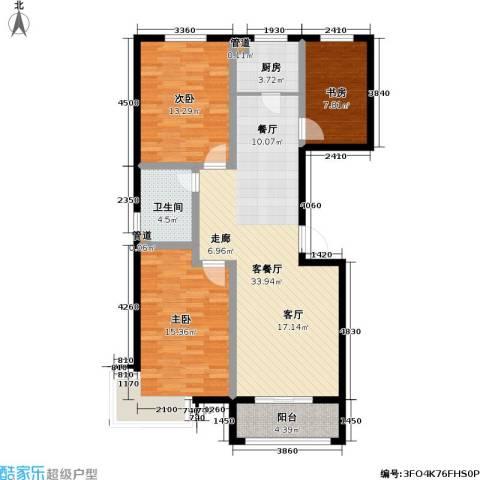 玉泉华庭3室1厅1卫1厨139.00㎡户型图