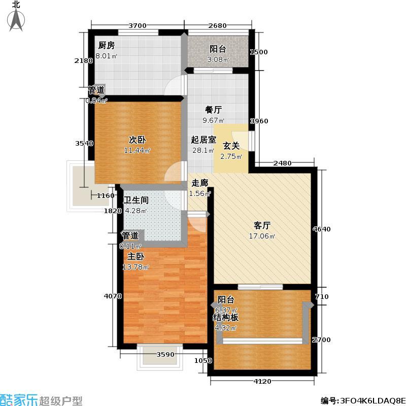 好世凤凰城二期94.00㎡房型: 二房; 面积段: 94 -95 平方米; 户型