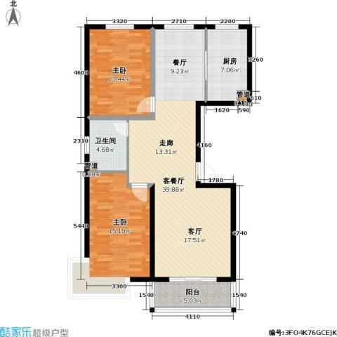 玉泉华庭2室1厅1卫1厨111.00㎡户型图
