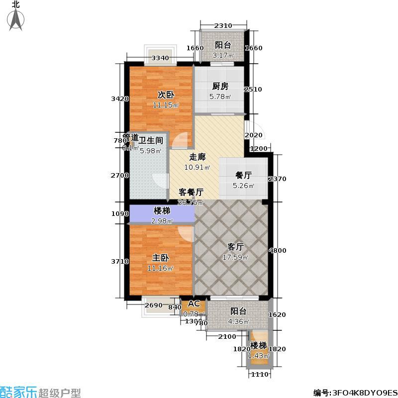 阳光倾城(阳光左右间)99.12㎡A2B户型首层二室二厅一卫户型