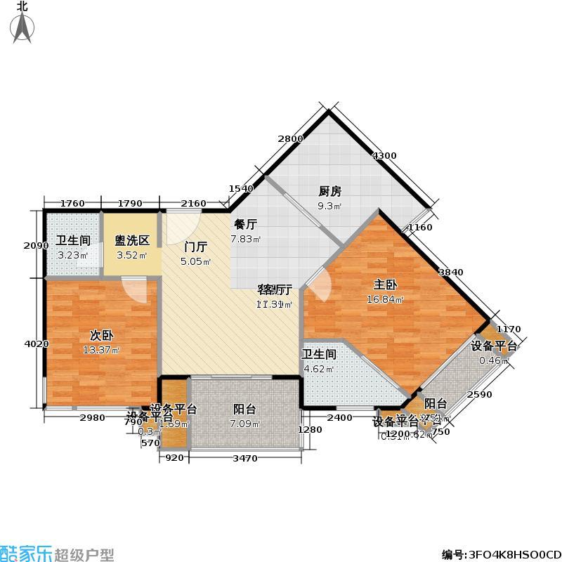 华晖绿苑一期89.13㎡房型: 二房; 面积段: 89.13 -117.31 平方米;户型