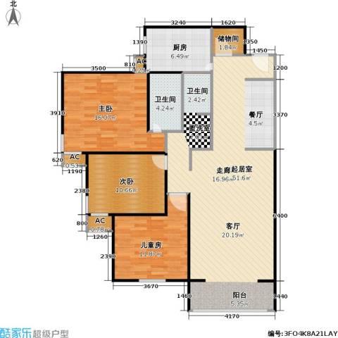 金晖嘉园3室0厅1卫1厨113.00㎡户型图