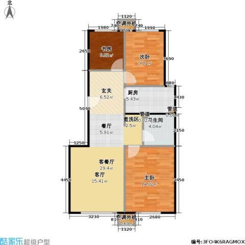 中国铁建・原香嘉苑3室1厅1卫1厨92.00㎡户型图