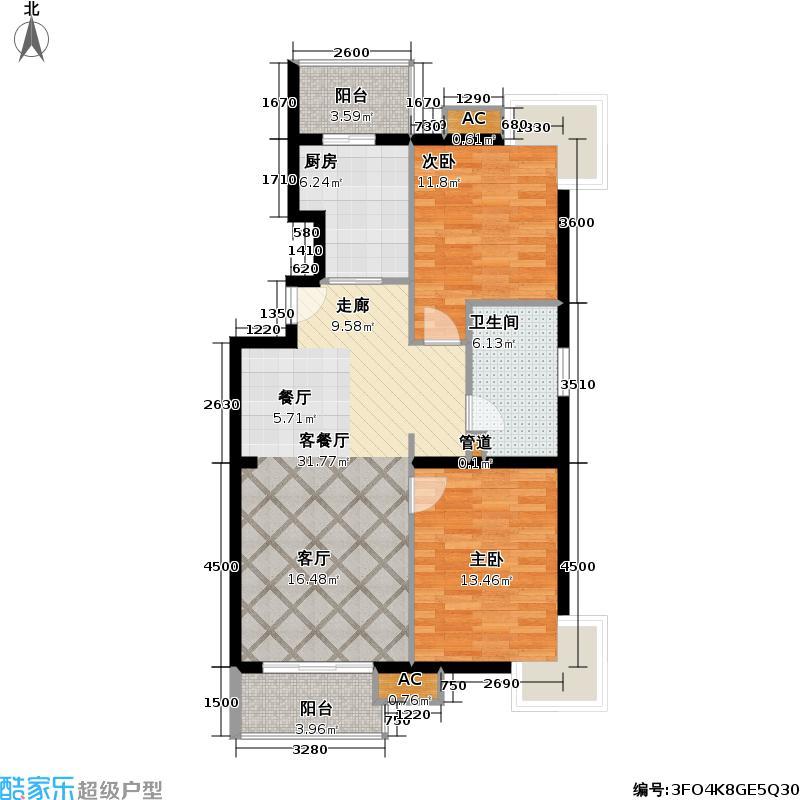 阳光倾城(阳光左右间)102.10㎡E户型二室二厅一厨一卫户型
