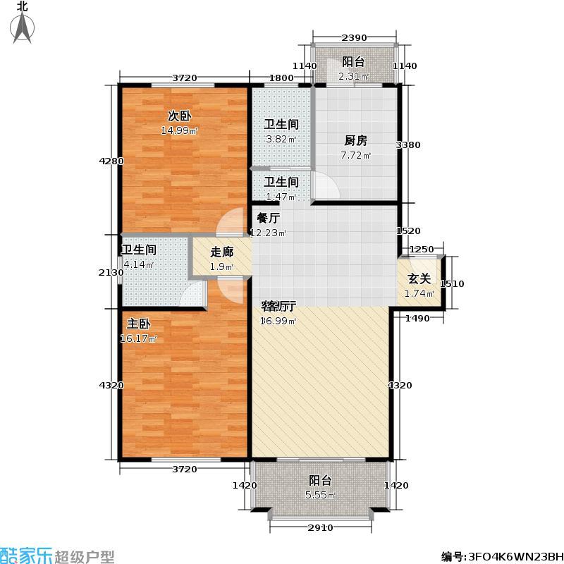 由由新景苑房型户型2室1厅2卫1厨