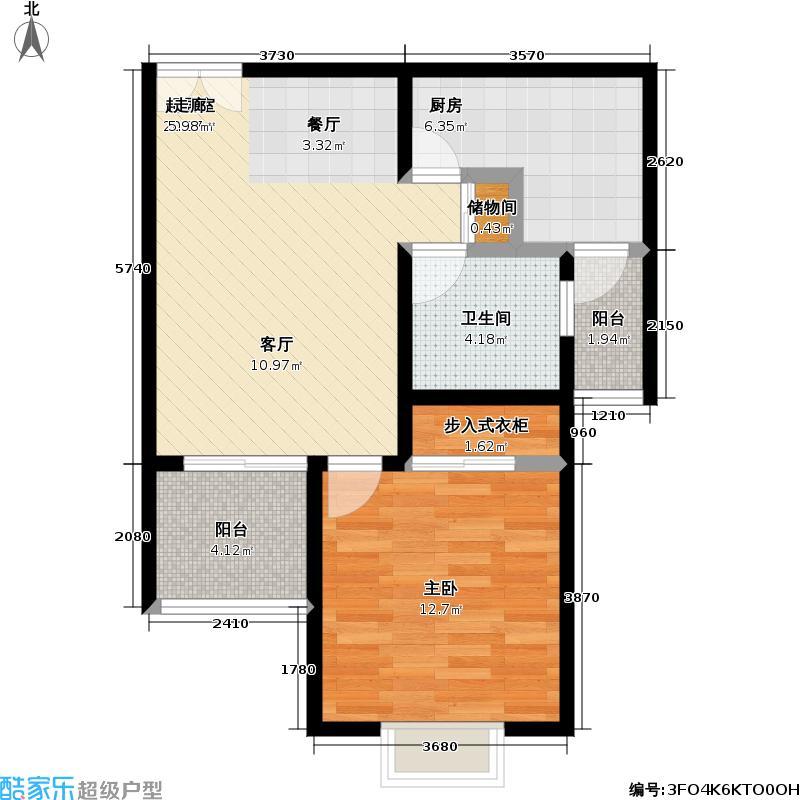 好世鹿鸣苑60.00㎡一房二厅一卫-60-70平米-100套户型
