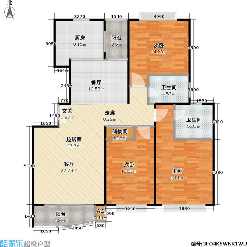 万邦都市花园三期房型户型3室2卫1厨