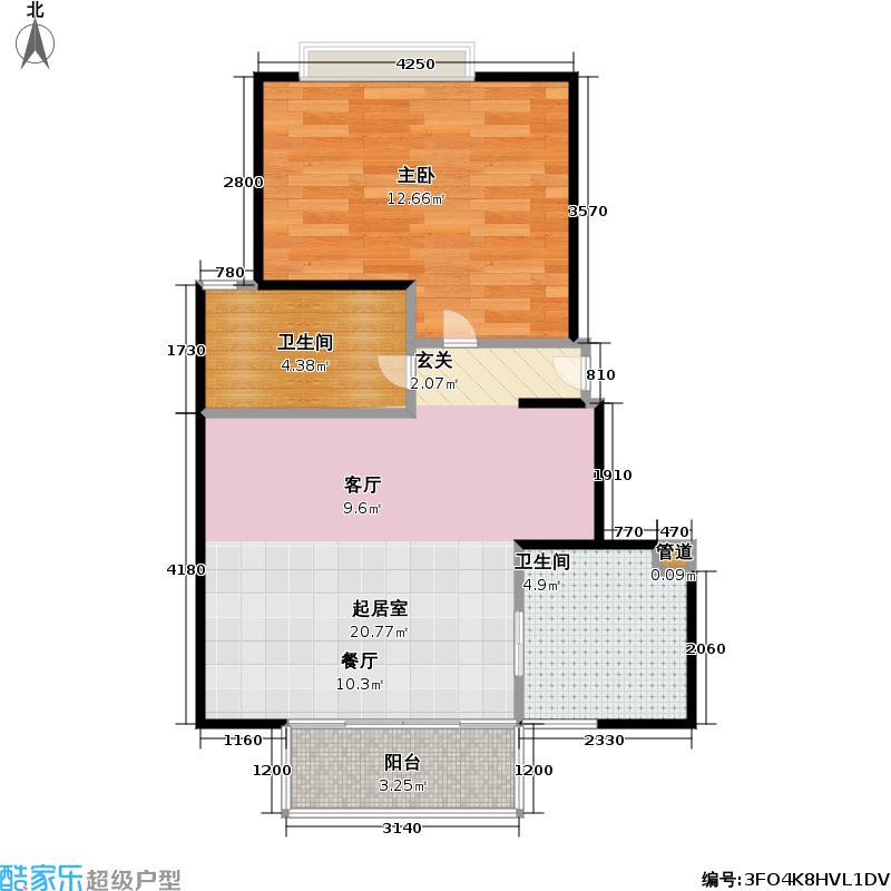 爱法小天地50.00㎡房型: 一房; 面积段: 50 -85 平方米; 户型