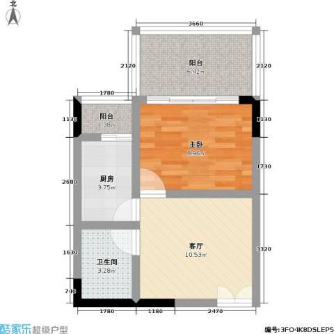 国窖明城(二期)1室1厅1卫1厨37.00㎡户型图