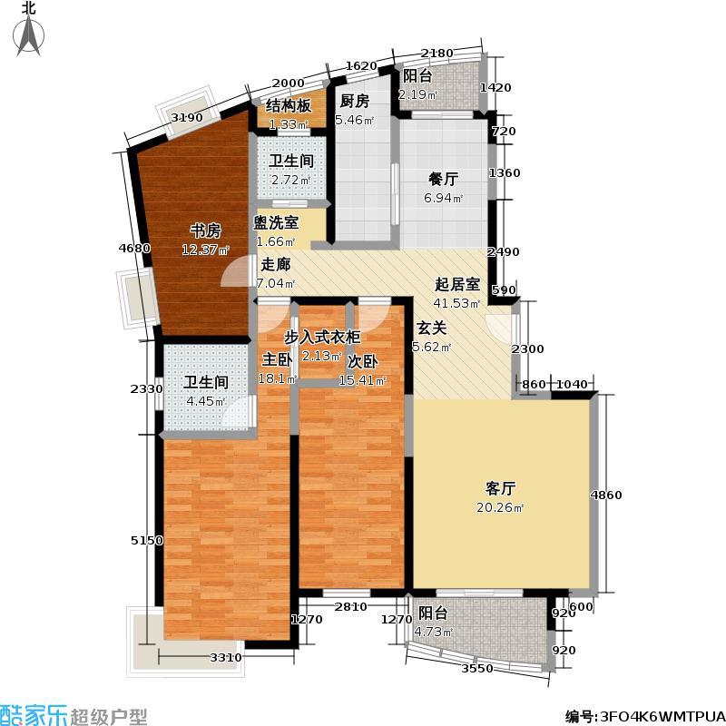 浦东世纪花园一期126.00㎡房型: 三房; 面积段: 126 -180 平方米;户型