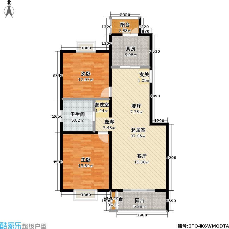 龙腾苑102.36㎡房型: 二房; 面积段: 102.36 -102.36 平方米;户型