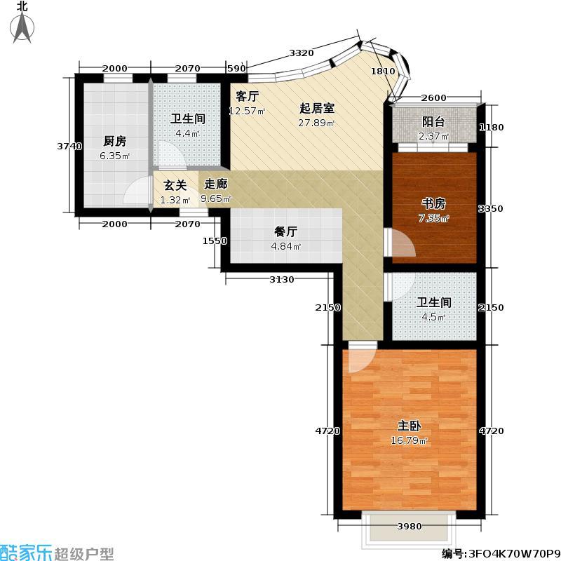 万邦都市花园四、五期房型户型2室2卫1厨