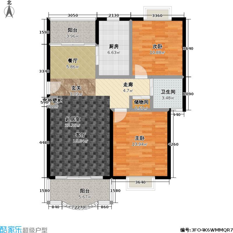 日月新殿91.00㎡房型: 二房; 面积段: 91 -107 平方米;户型