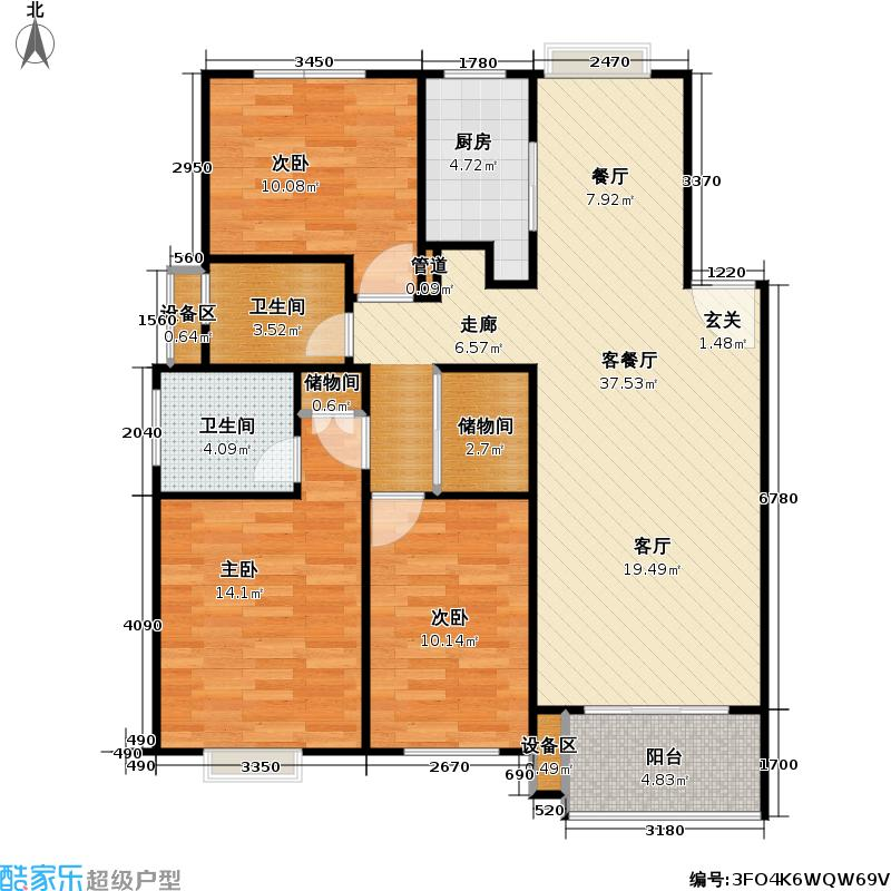 都市宜家苑101.00㎡房型: 三房; 面积段: 101 -128 平方米; 户型