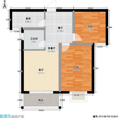 玉泉华庭2室1厅1卫1厨81.00㎡户型图
