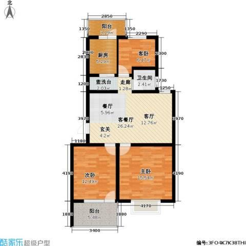 迪尚御园3室1厅1卫1厨110.00㎡户型图
