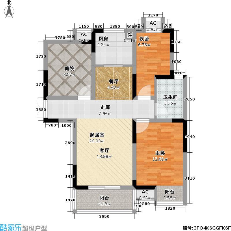 金山世纪城一、二期三房两厅一卫86.96平米户型