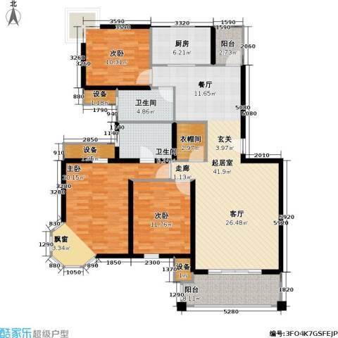 中金玫瑰湾二期3室0厅2卫1厨134.00㎡户型图