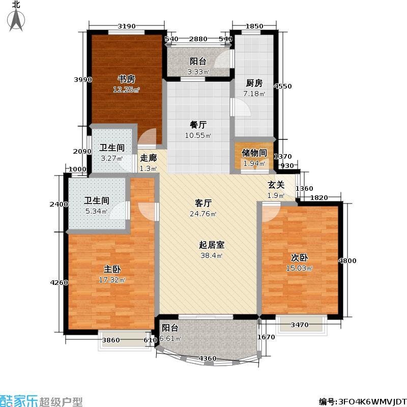 东方名筑-馥园102.65㎡房型: 三房; 面积段: 102.65 -124.26 平方米; 户型